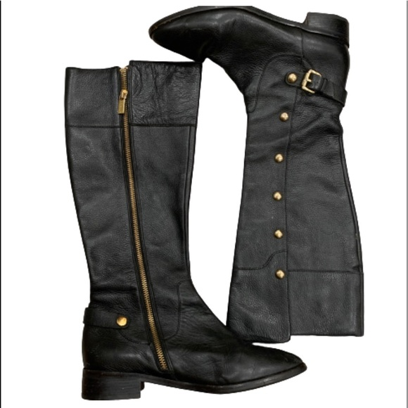 Michael Kors Leather Black Gold Boots